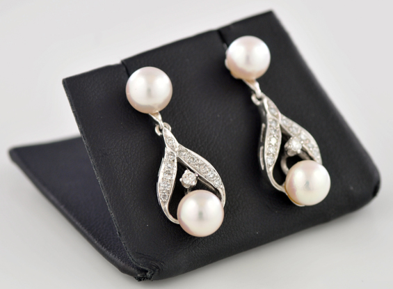 14K White Gold Diamond and Pearl Earrings