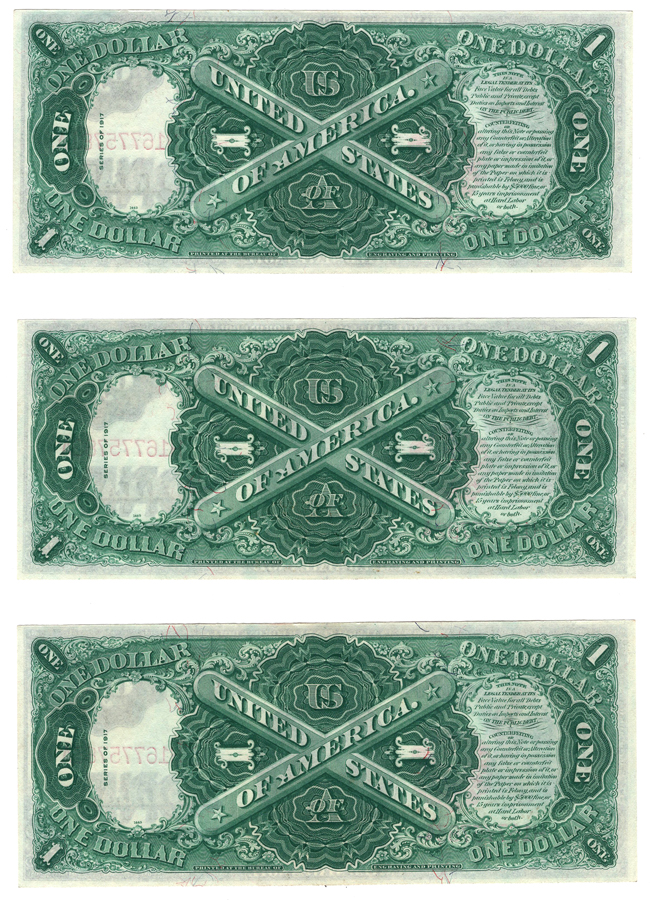 Run of three 1917 $1 Fr# 38 - AU