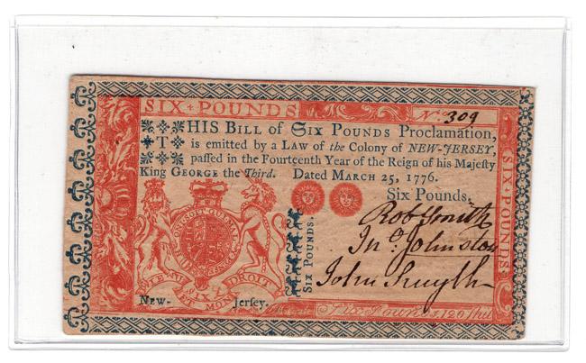 March 25 1776 6 Pound New Jersey Au