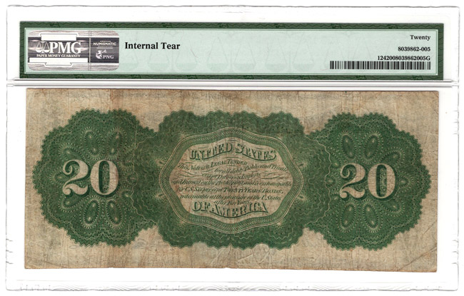 1862 $20 Fr# 124 - PMG VF-20/internal tear