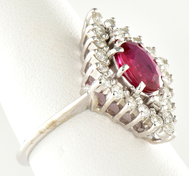 14K White Gold Diamond and Ruby Ring