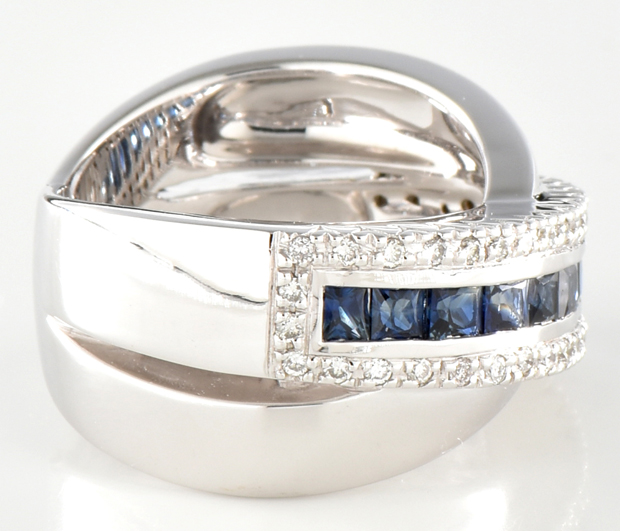 14K White Gold and Sapphire Band
