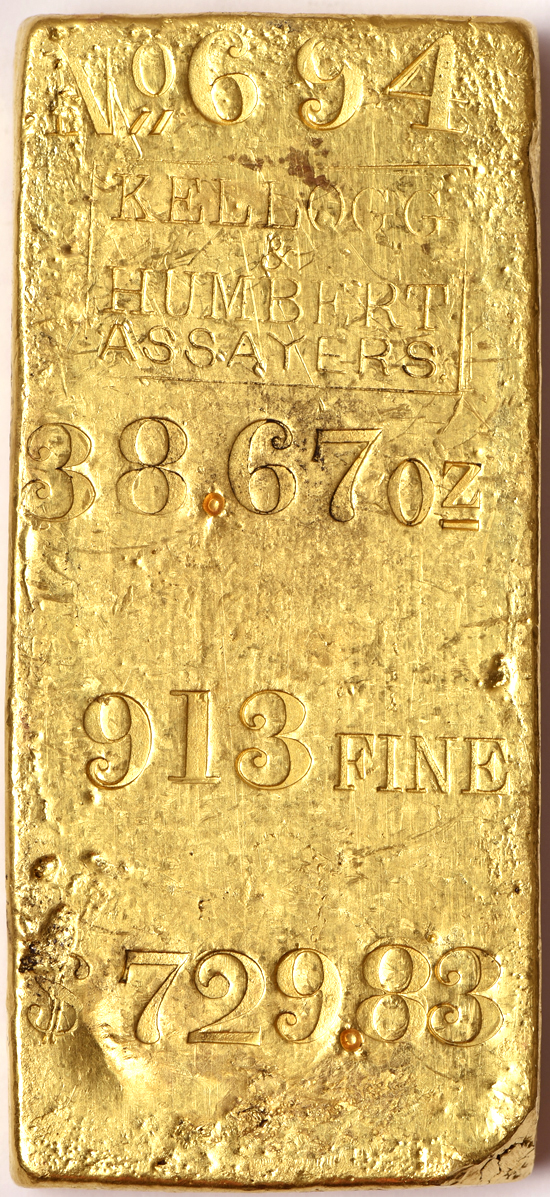 Kellogg & Humbert Assayers 38.67ozs .913 Fine Gold Bar, S.S. Central America Recovery