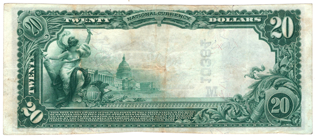 1902 $20 Blue Seal - Holden, MO Charter #10384 - VF