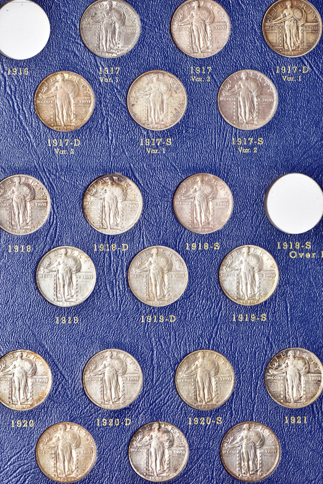 Nearly complete collection of Standing Liberty quarters in a Whitman 9417 album