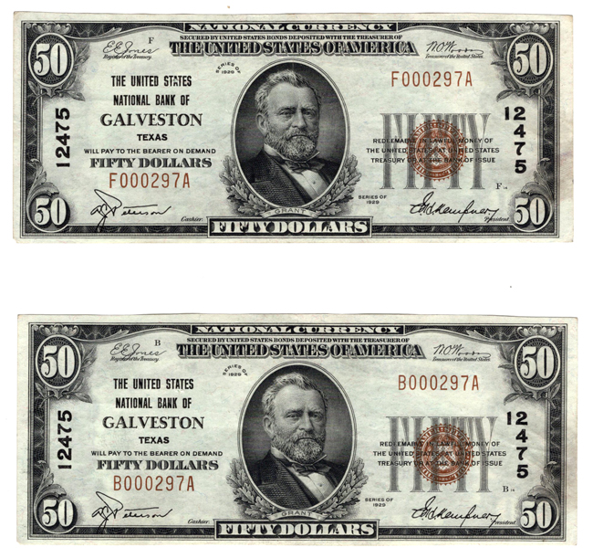 Pair of 1929 $50 Type 1 - Galveston, TX Charter #12475 from a cut sheet - AU