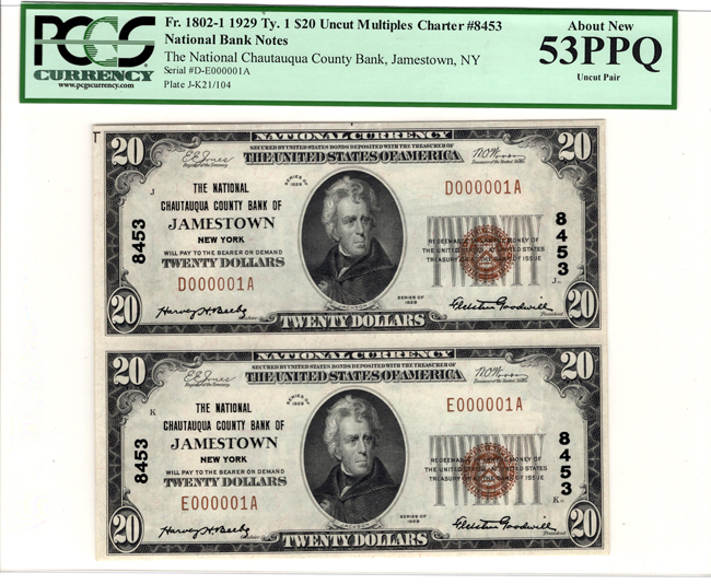 Uncut pair of 1929 $20 Type 1, Serial Number 1 - Jamestown, NY Charter #8453 - PCGS AU-53 PPQ