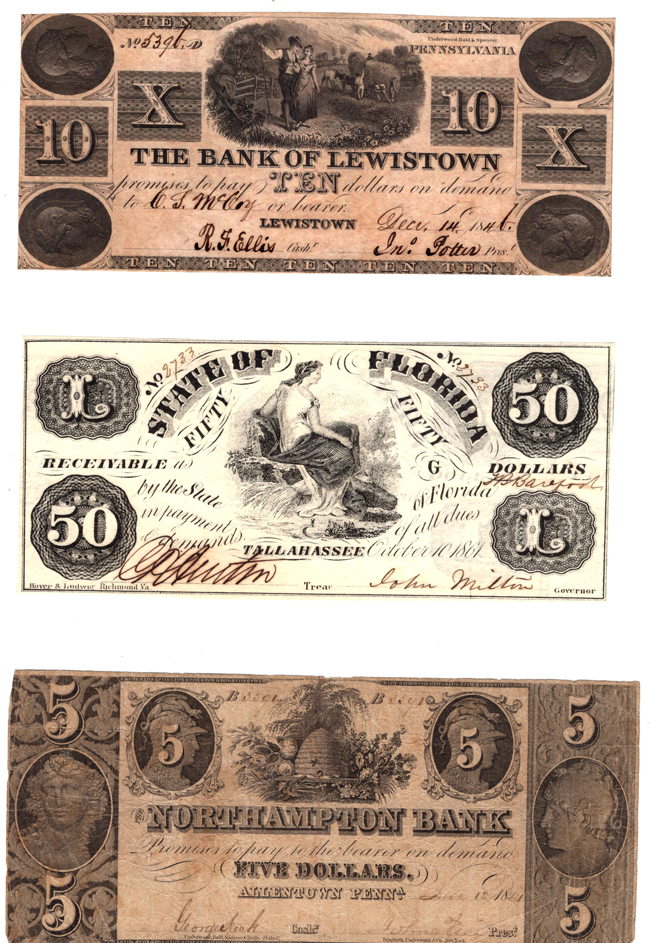 Six Obsolete Bank Notes