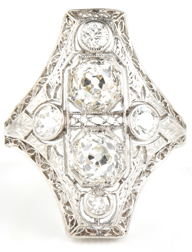 Scotsman Auction Co. - Lot #14 - Platinum Vintage Ring