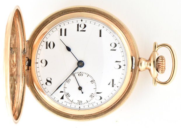 Two 14K Yellow Gold 18 Size Men's Hunter Case Pocket Watches