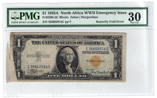 Error Currency - 1935A $1 North Africa Fr# 2306 Butterfly Fold Error - PMG VF-30/light staining