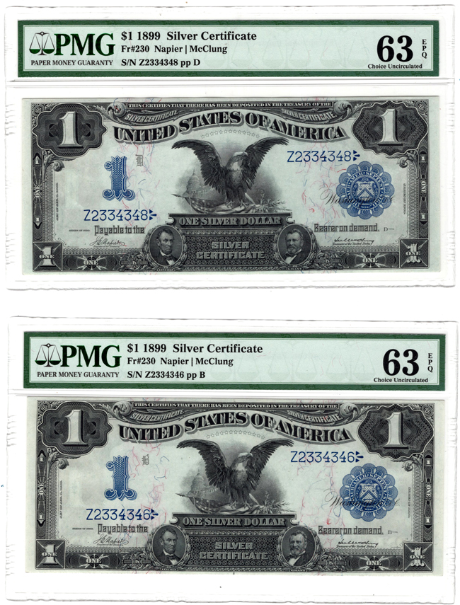 Three sequential 1899 $1 Black Eagle Fr# 230 - all PMG ChCU-63 EPQ