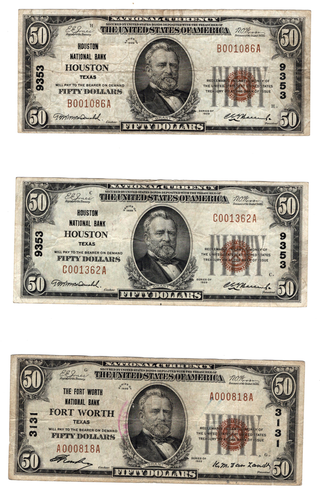 Three 1929 $50 Type 1 Texas National Bank Notes, F to VF, as described.