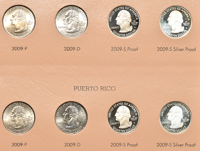Complete collection of Washington quarters, including proof-only issues, 1932 through 2009-S in four Dansco albums
