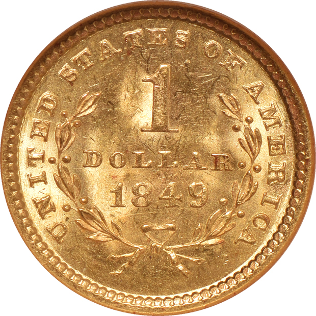 1849 Open Wreath NGC MS-63 CAC