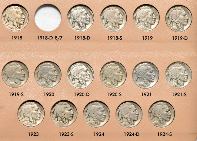 Collection of sixty-four different Buffalo nickels in a Dansco 7112 album
