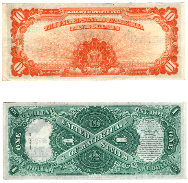 1917 $1 Star Fr# 37 - VF, plus a 1922 $10 gold certificate FR# 1173 XF
