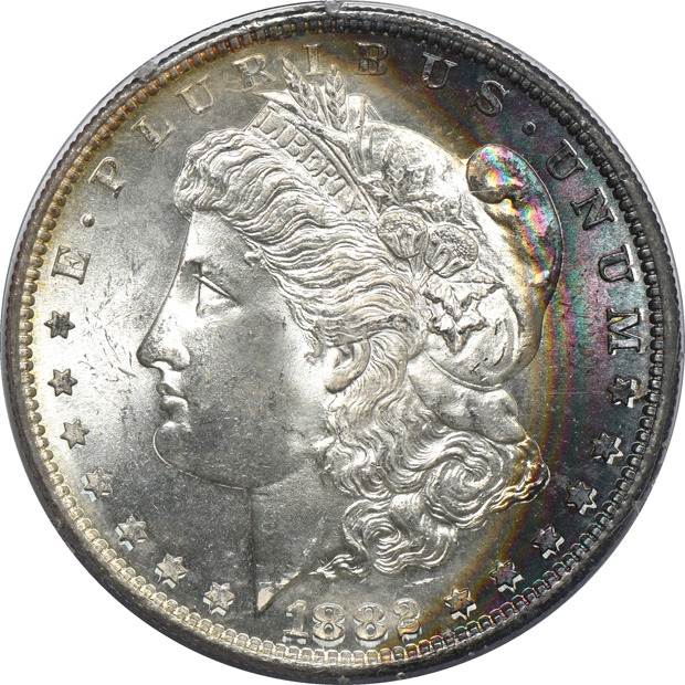 Seven certified Morgan silver dollars