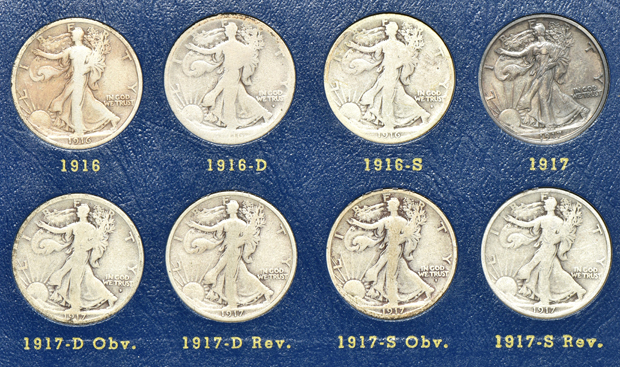 Complete collection of Walking Liberty half-dollars in two Whitman albums