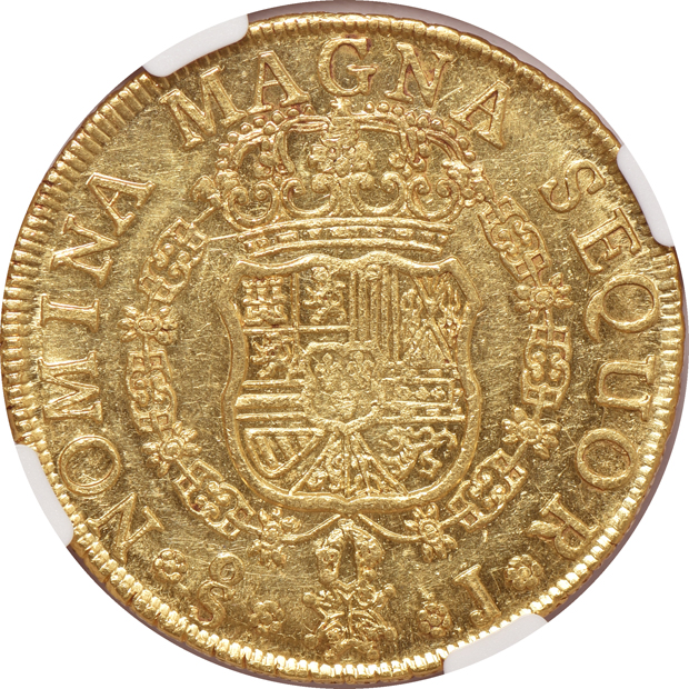 Chile - 1757-SO 8 escudos - NGC AU-58