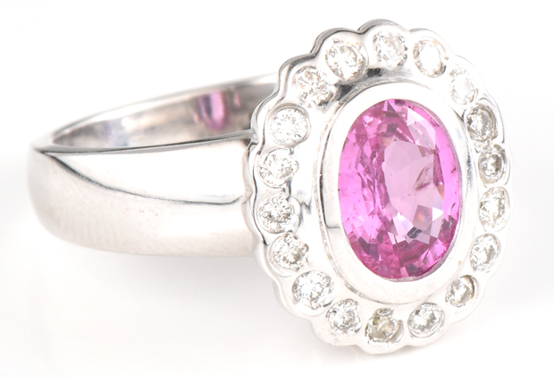 18K White Gold and Pink Sapphire Ring
