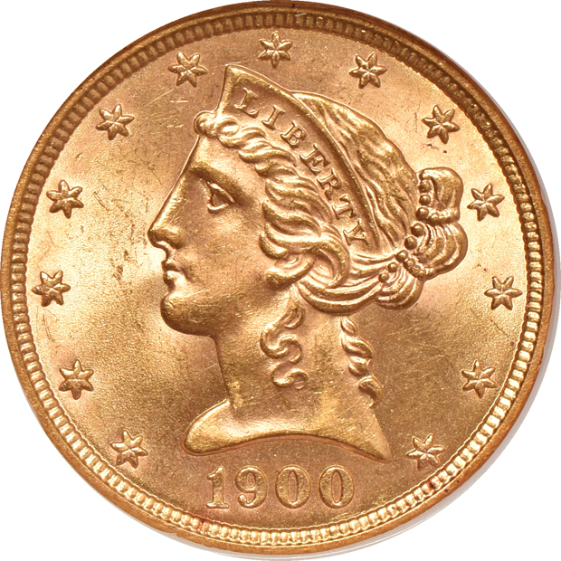 1900 NGC MS-63 (no line) GOLD CAC