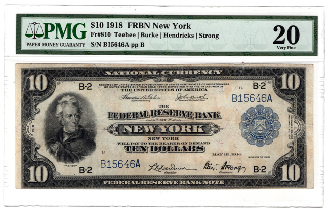 1918 $10 New York Fr# 810 - PMG VF-20/stains lightened