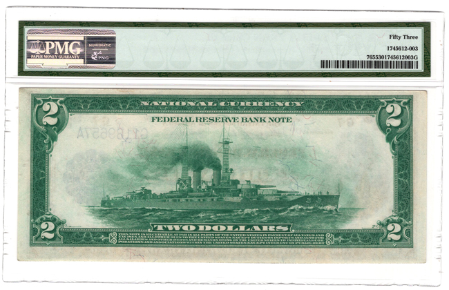 1918 $2 Chicago Battleship Fr# 765 - PMG AU-53