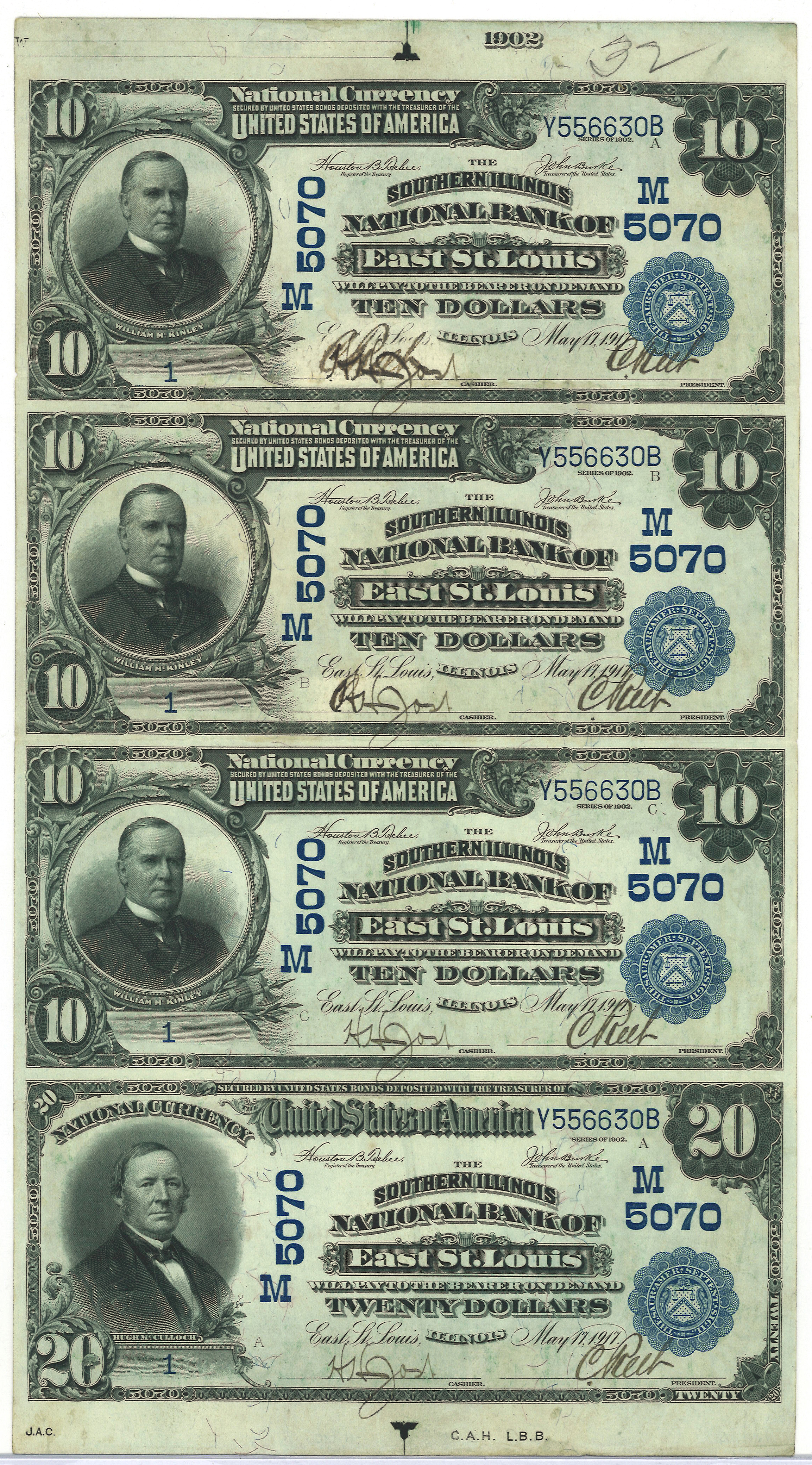 Uncut sheet of serial number 1 1902 Blue Seals - East St. Louis, IL Charter #5070.  Three $10 and one $20.