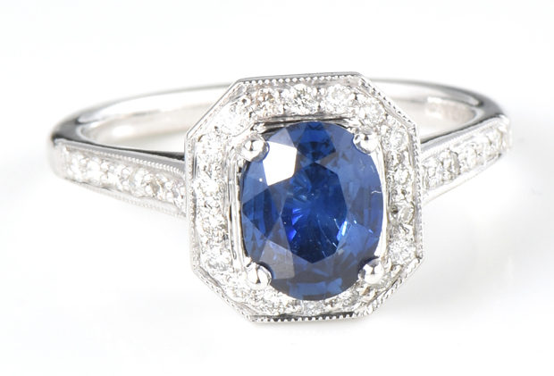 14K White Gold Diamond Ring with a 1.23 Carat Sapphire, GIA #6204412373