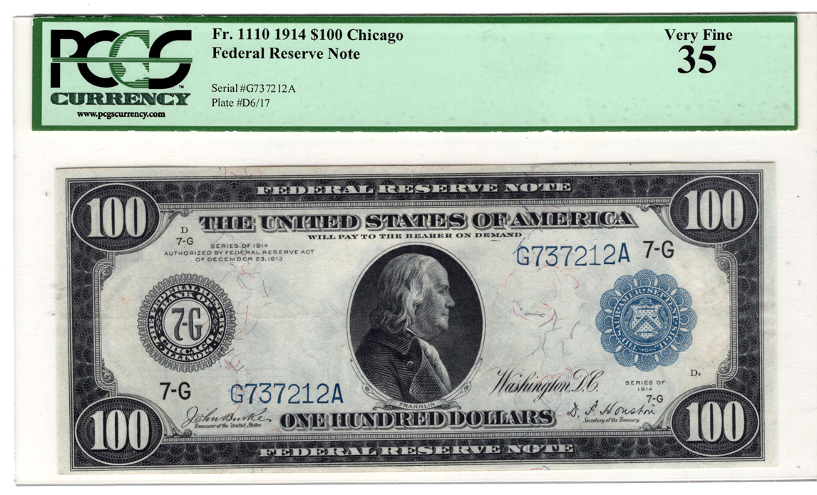 1914 $100 Chicago Blue Seal Fr# 1110 - PCGS VF-35