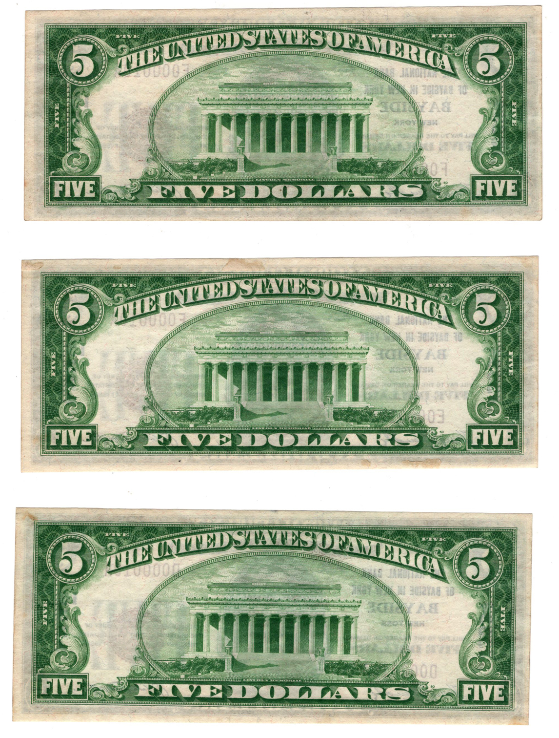 Cut sheet of serial no. 10 1929 $5 Type 1 - Bayside, NY Charter #13334 - CU