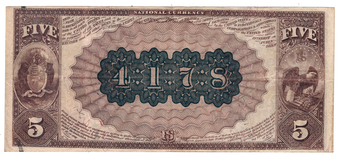 1882 $5 Brown Back - St. Louis, MO Charter #4178 - VF