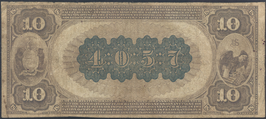 1882 $10 Brown Back - Lamar, MO Charter #4057 - PMG VG-10