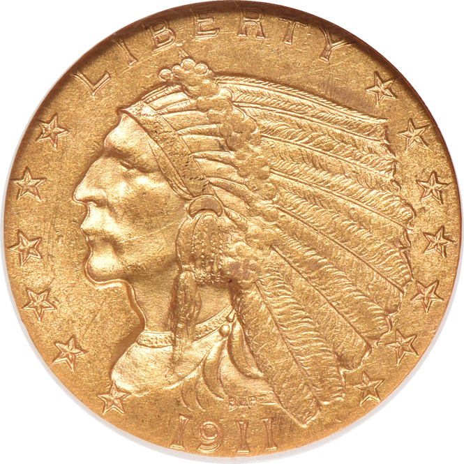 1911-D Gold $2.50 STRONG D NGC, MS-60