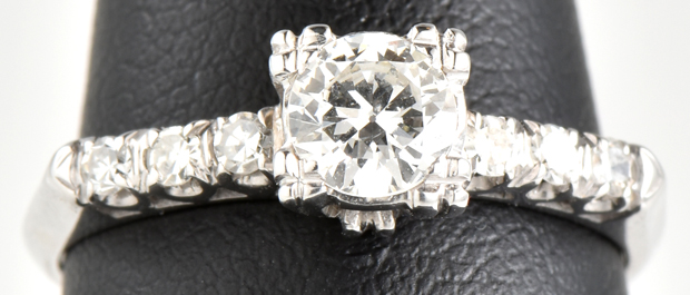 14K White Gold Antique Diamond Engagement Ring with Approx. .40 Carat Transitional Cut Round Diamond, VS2 Clarity, H Color and Approximately .15 cttw in Side Round Diamonds, 1.4 dwt, Ring Size 5.5 COE