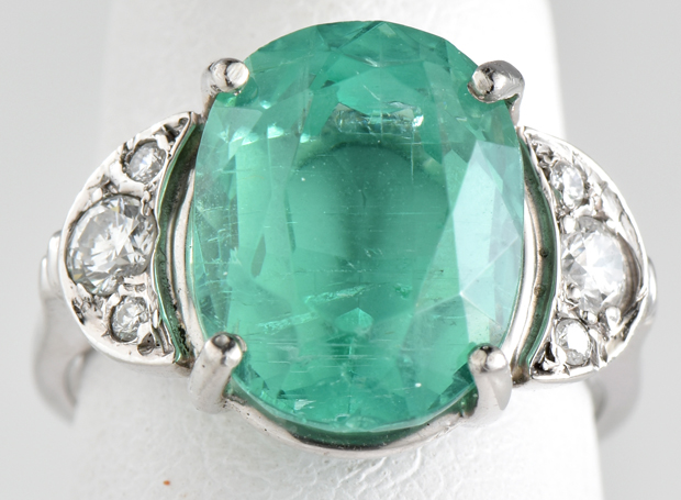 "Ladies Platinum Vintage Ring with a 5.45 Ct Oval Green Emerald GIA #J &  Approx .45 Carat Total Weight Diamonds, 4.1 dwt, Ring Size 4 ""COE"""