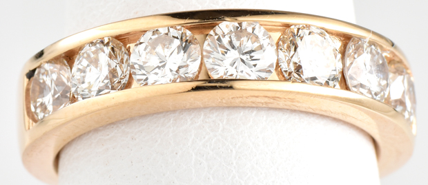 "14K Yellow Gold Estate Diamond Band with Approximately 1.75 Carat Total Weight in Round Cut Diamonds, SI1-2 Clarity, I Color. Finger Size 6, 3.9 dwt ""COE"""