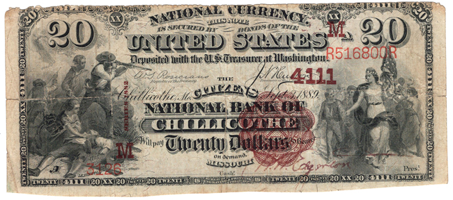 1882 $20 Brown Back - Chillicothe, MO Charter #4111 - VG